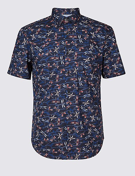 Pure Cotton Dragonfly Print Shirt