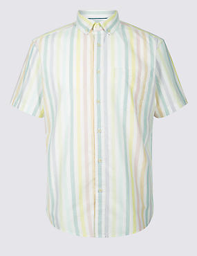 2in Longer Pure Cotton Striped Oxford Shirt
