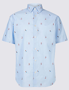 Pure Cotton Slim Fit Surfer Design Shirt