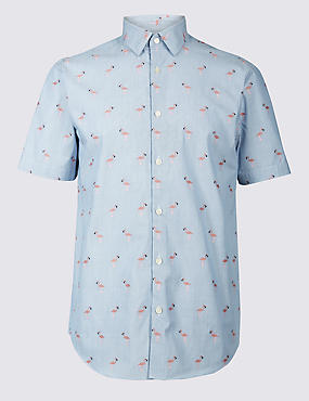 Pure Cotton Slim Fit Flamingo Print Shirt