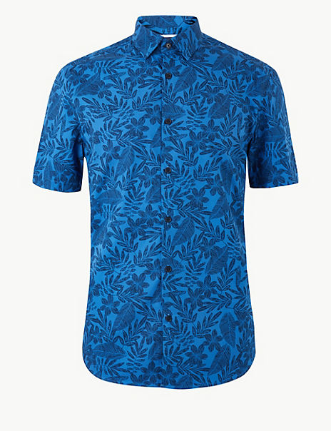 Pure Cotton Leaf Print Shirt