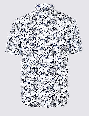 Pure Cotton Leaf Printed Shirt