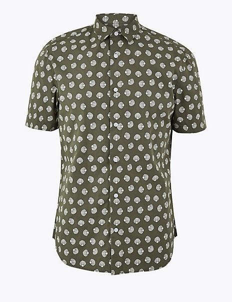 Pure Cotton Shell Print Shirt