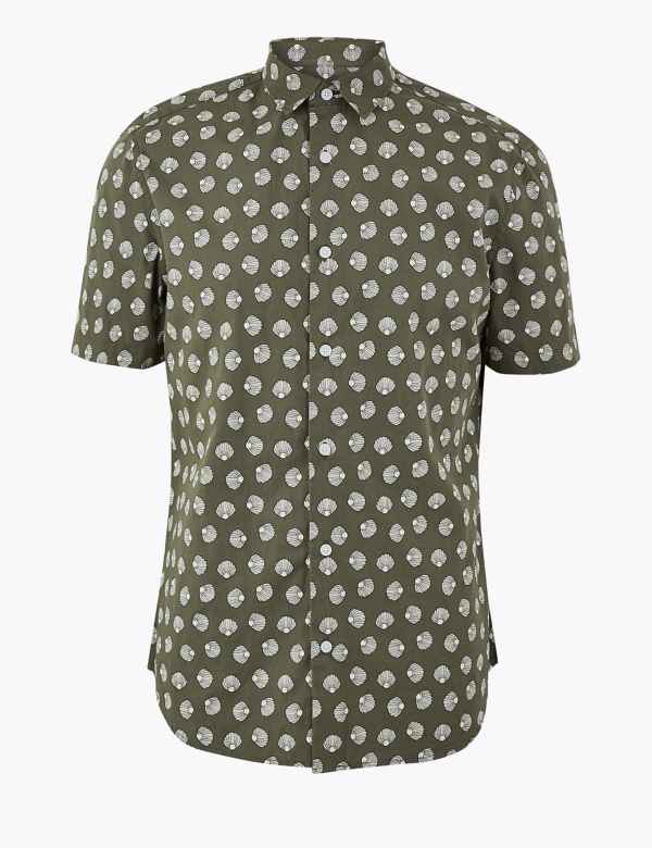 eefbdc46 Pure Cotton Shell Print Shirt. New. M&S Collection