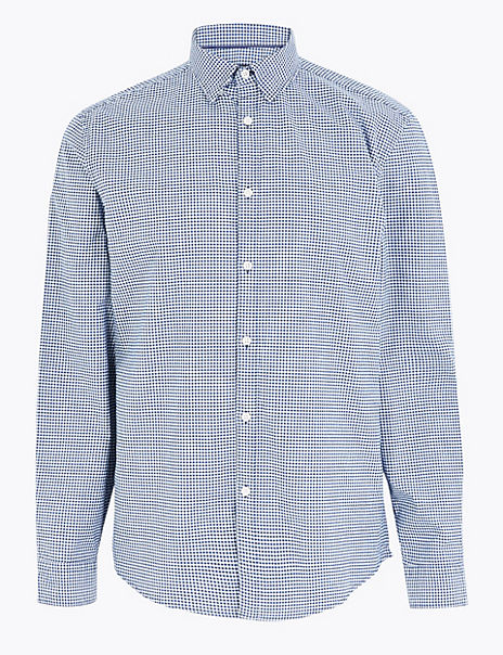 Cotton Rich Checked Oxford Shirt