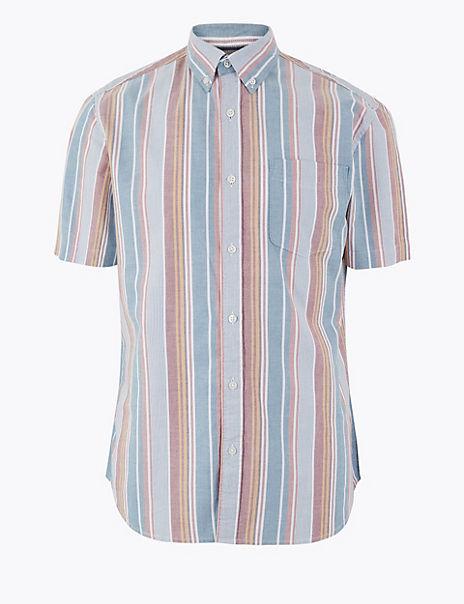 Cotton Striped Oxford Shirt