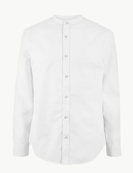 Pure Cotton Grandad Oxford Shirt