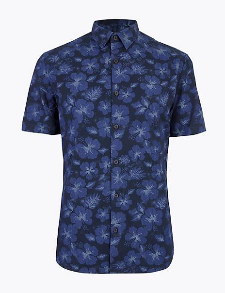 Pure Cotton Denim Floral Shirt