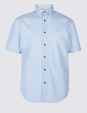 Pure Cotton Geometric Print Shirt