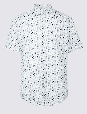 Pure Cotton Surfboard Printed Shirt