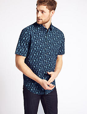 Pure Cotton Sunset Printed Shirt