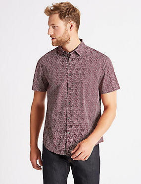 Pure Cotton Geometric Print Shirt
