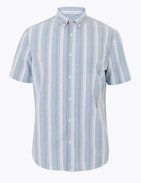 Cotton Regular Fit Striped Shirt