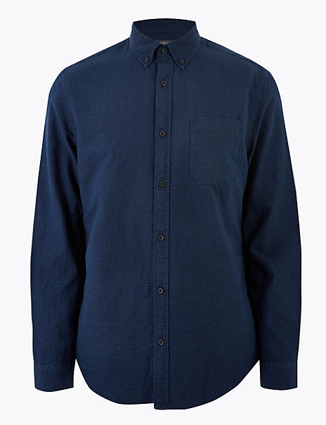 Pure Cotton Regular Fit Textured Shirt