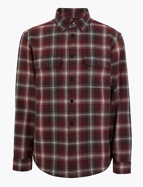 Pure Cotton Checked Overshirt
