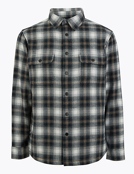 Cotton Blend Checked Overshirt