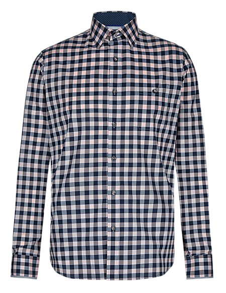 XXXL Supima® Cotton Tailored Fit Checked Shirt