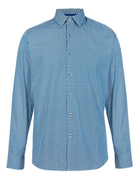 Supima® Cotton Slim Fit Mini Diamond Print Shirt