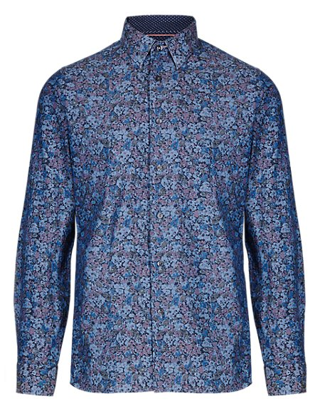 Pure Cotton Slim Fit Chambray Floral Shirt