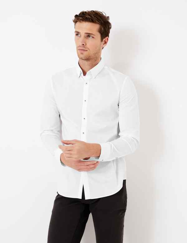 Cotton Rich Slim Fit Shirt with Stretch