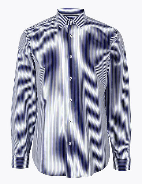 Cotton Rich Striped Shirt with Stretch