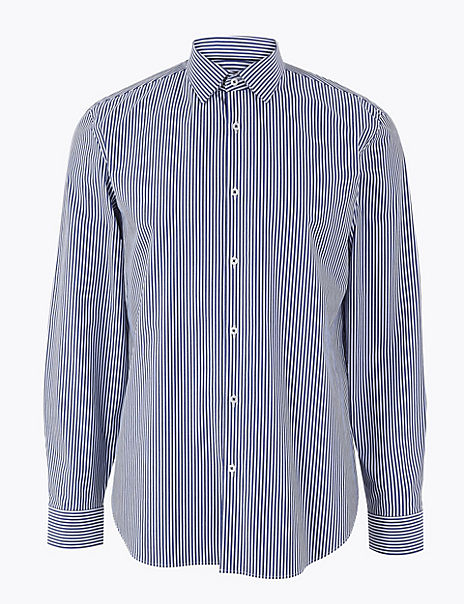 Slim Fit Cotton Rich Striped Shirt with Stretch