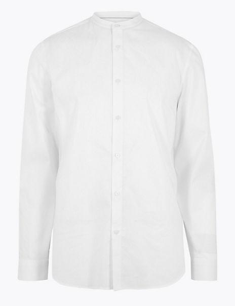 Cotton Rich Grandad Slim Fit Shirt