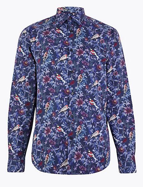 Cotton Bird Print Shirt