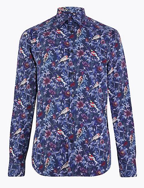 Cotton Bird Print Slim Fit Shirt