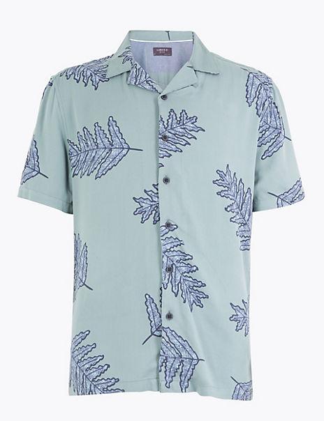 Cotton Leaf Print Shirt