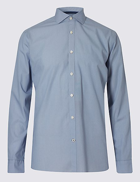 Italian Fabric Pure Cotton Tailored Fit Textured Shirt