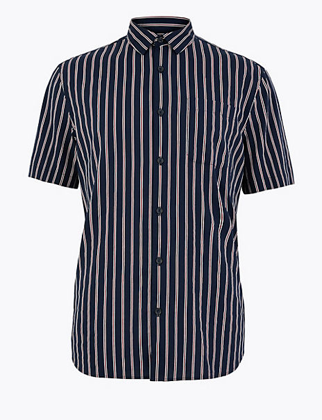 Cotton Rich Striped Shirt