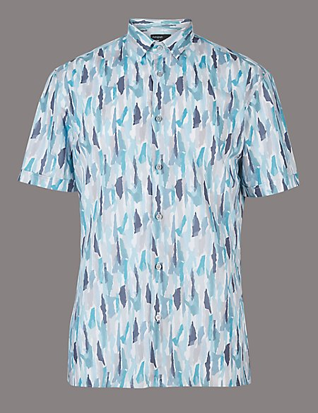 Luxury Pure Cotton Slim Fit Printed Shirt
