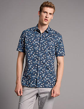 Pure Cotton Slim Fit Floral Print Shirt