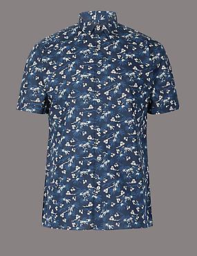 Pure Cotton Slim Fit Floral Print Shirt