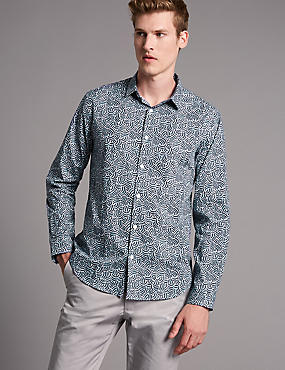 Supima® Cotton Slim Fit Squiggle Print Shirt