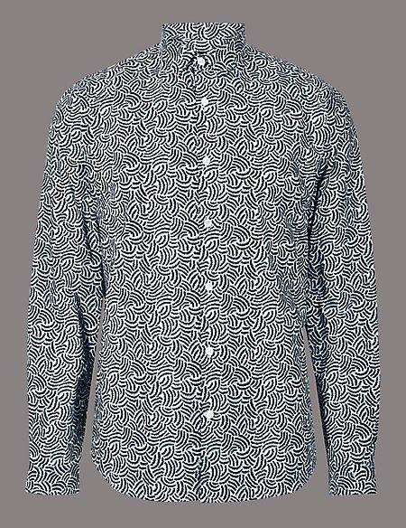 Supima® Cotton Slim Fit Squiggle Print Shirt