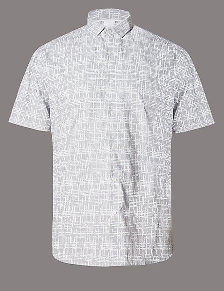 Supima® Cotton Short Sleeve Jigsaw Print Shirt