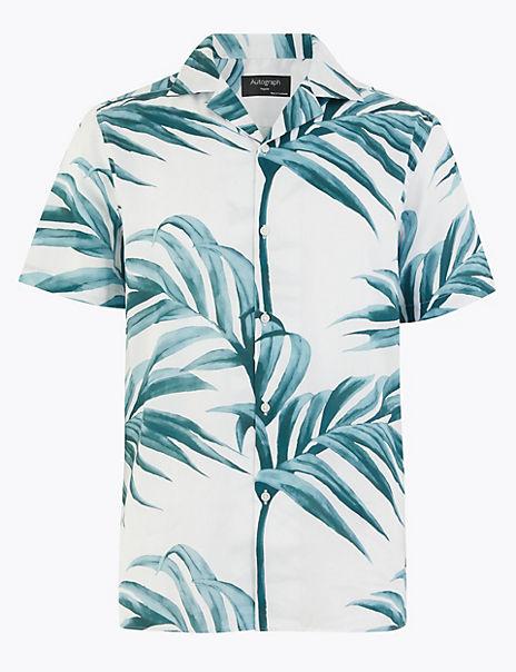 Pure Cotton Revere Palm Print Shirt