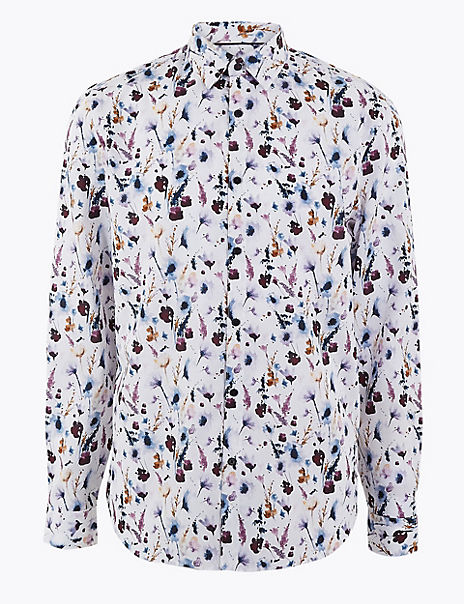 Cotton Watercolour Print Shirt