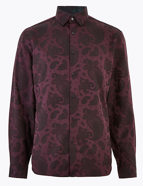 Pure Cotton Paisley Jacquard Shirt