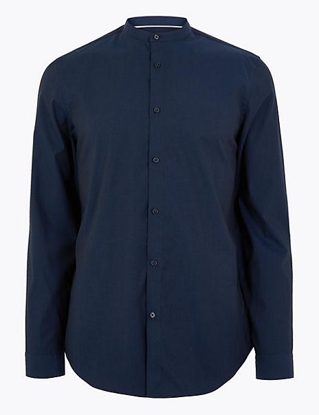 Slim Fit Cotton Rich Grandad Shirt