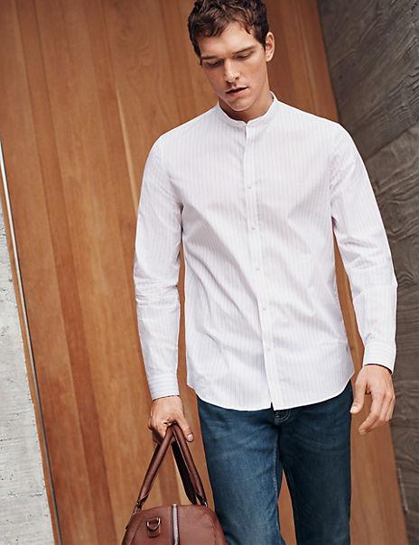 Pure Cotton Striped Grandad Slim Fit Shirt