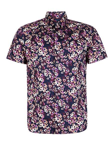 Supima® Cotton Slim Fit Daisy Print Shirt
