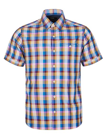 Supima® Cotton Tailored Fit Block Checked Shirt