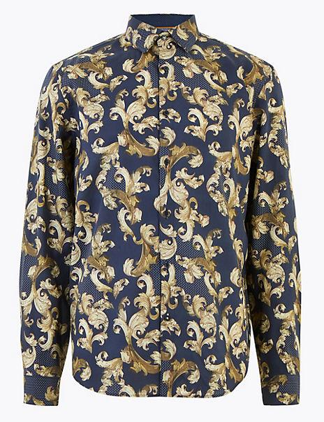 Pure Cotton Baroque Print Shirt