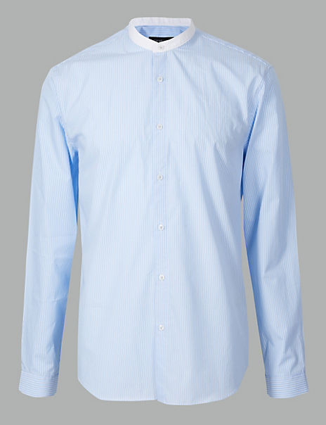 Pure Cotton Striped Grandad Shirt