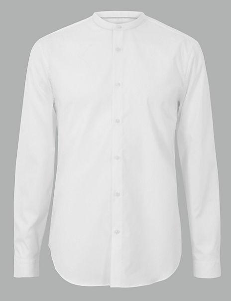 Cotton Rich Grandad Shirt with Stretch