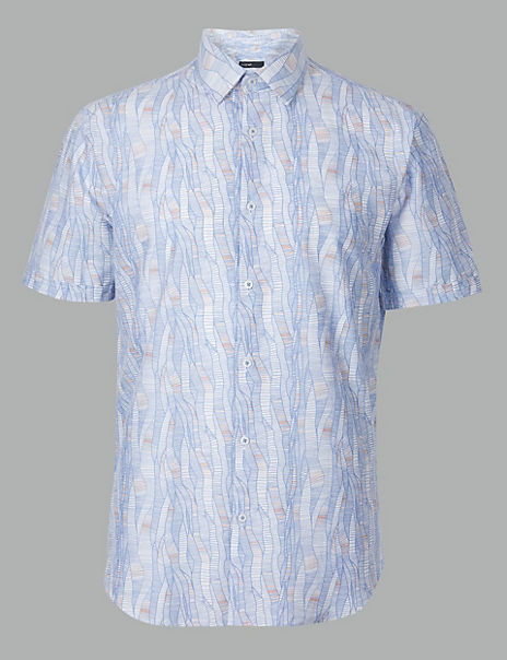 Pure Cotton Wave Print Shirt