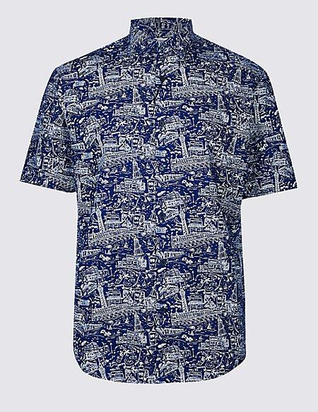 Pure Cotton Beach Pier Design Shirt